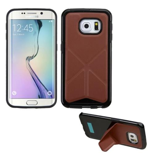 Insten TPU Case w/stand For Samsung Galaxy S6 Edge, Brown/Black