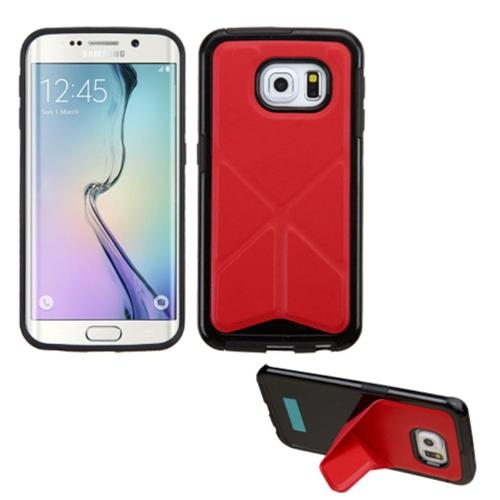 Insten TPU Cover Case w/stand For Samsung Galaxy S6 Edge, Red/Black