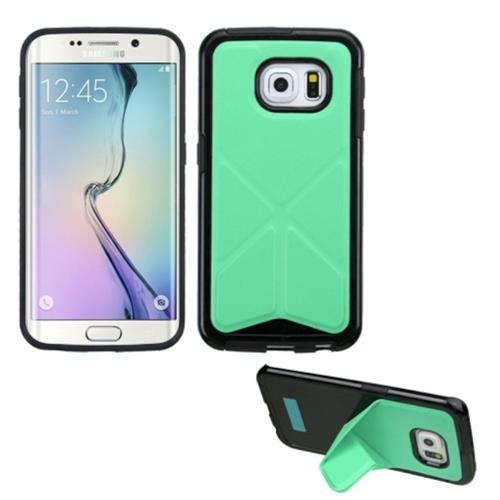 Insten Gel Cover Case w/stand For Samsung Galaxy S6 Edge, Green/Black