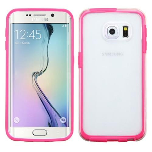 Insten TPU Case For Samsung Galaxy S6 Edge, Clear/Hot Pink