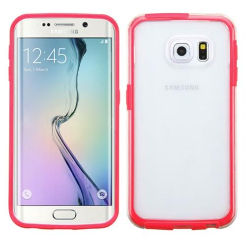 Insten Rubber Cover Case For Samsung Galaxy S6 Edge, Clear/Red