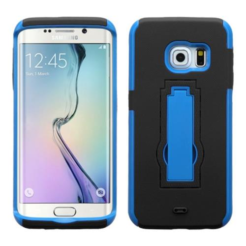 Insten Symbiosis Rubber Dual Layer Hard Case w/stand For Samsung Galaxy S6 Edge, Blue/Black