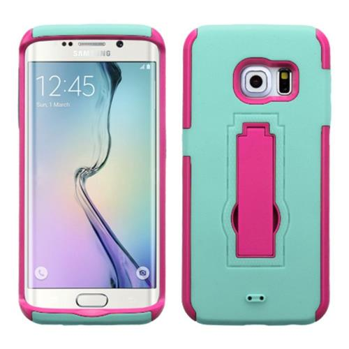 Insten Symbiosis Soft Dual Layer Rubber Hard Case w/stand For Samsung Galaxy S6 Edge, Teal/Hot Pink