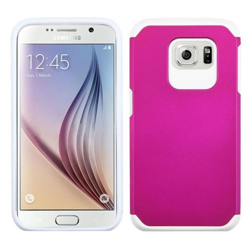 Insten Hard Hybrid Rubber Silicone Cover Case For Samsung Galaxy S6, Hot Pink/White