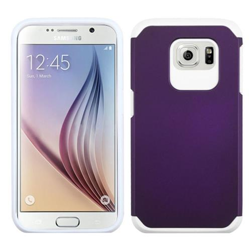 Insten Hard Dual Layer Rubberized Silicone Cover Case For Samsung Galaxy S6, Purple/White