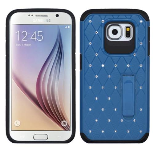 Insten Hard Hybrid Rubberized Silicone Case w/stand/Diamond For Samsung Galaxy S6, Blue/Black