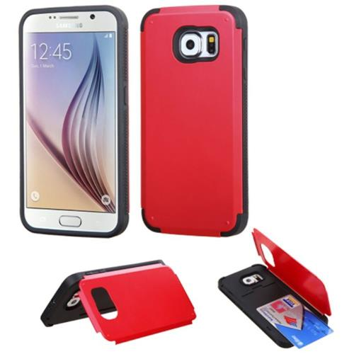 Insten Hard Silicone Cover Case w/card holder For Samsung Galaxy S6, Red/Black