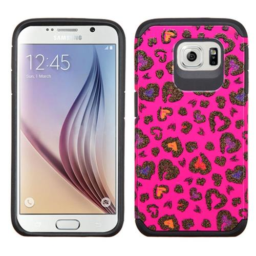Insten Leopard Hard Hybrid Rubber Coated Silicone Case For Samsung Galaxy S6, Hot Pink/Black
