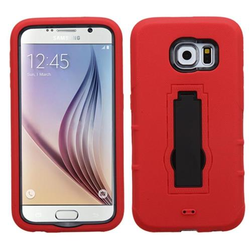 Insten Symbiosis Soft Dual Layer Rubber Hard Cover Case w/stand For Samsung Galaxy S6, Red/Black