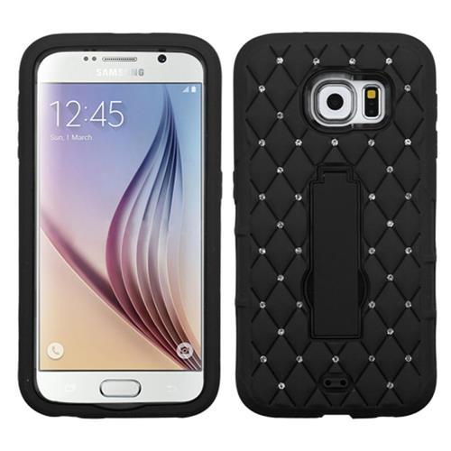 Insten Symbiosis Soft Hybrid Rubber Hard Case w/stand/Diamond For Samsung Galaxy S6, Black
