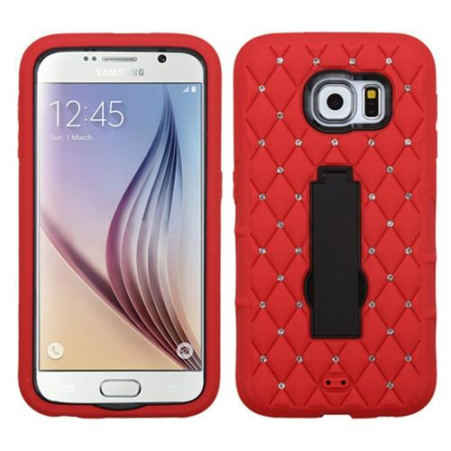 Insten Symbiosis Rubber Hybrid Hard Cover Case w/stand/Diamond For Samsung Galaxy S6, Red/Black