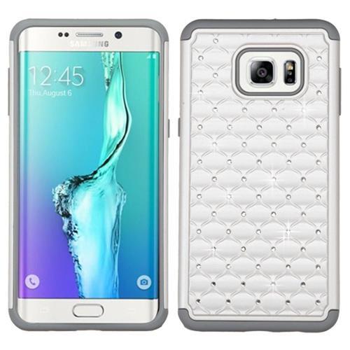 Insten Hard Rubberized Silicone Case w/Diamond For Samsung Galaxy S6 Edge Plus, White/Gray