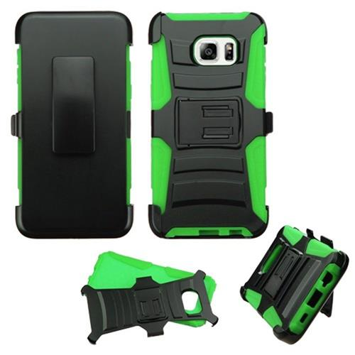 Insten Hard Hybrid Plastic Silicone Case w/Holster For Samsung Galaxy S6 Edge Plus, Black/Green