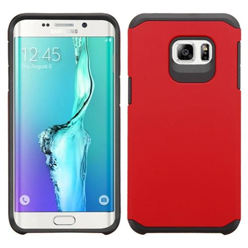 Insten Hard Hybrid Rubber Silicone Case For Samsung Galaxy S6 Edge Plus, Red/Black