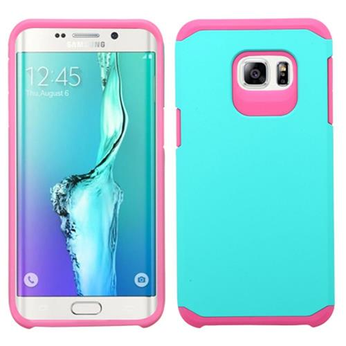 Insten Hard Hybrid Rubberized Silicone Case For Samsung Galaxy S6 Edge Plus, Teal/Pink