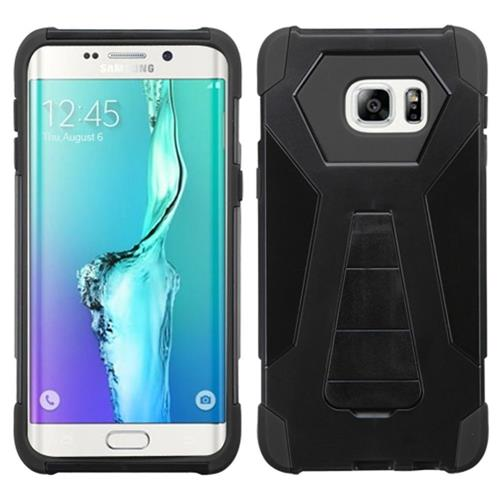 Insten Hard Hybrid Plastic Silicone Cover Case w/stand For Samsung Galaxy S6 Edge Plus, Black