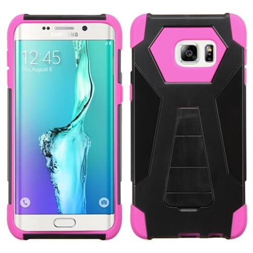 Insten Hard Hybrid Plastic Silicone Case w/stand For Samsung Galaxy S6 Edge Plus, Black/Hot Pink
