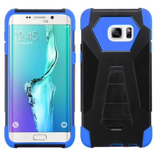 Insten Hard Hybrid Plastic Silicone Case w/stand For Samsung Galaxy S6 Edge Plus, Black/Blue