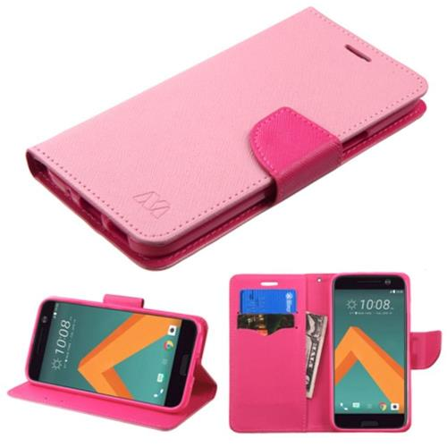 Insten Book-Style Leather Fabric Cover Case w/stand/card holder For HTC One M10, Pink