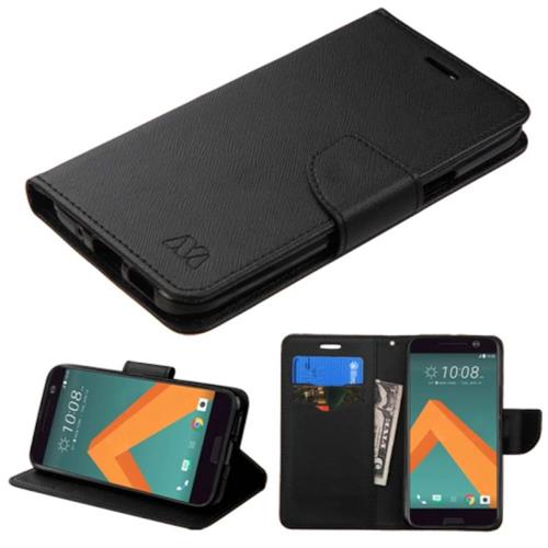 Insten Book-Style Leather Fabric Case w/stand/card holder For HTC One M10, Black