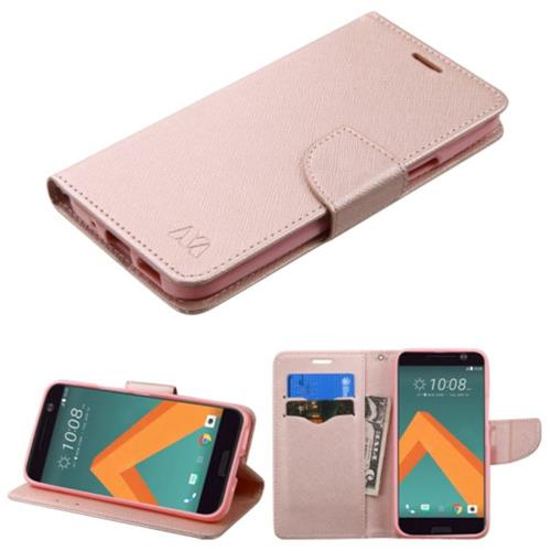 Insten Folio Leather Fabric Cover Case w/stand/card holder For HTC One M10, Rose Gold