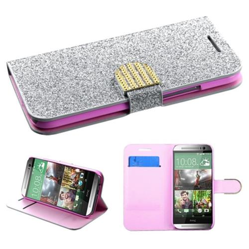 Insten Leather Glitter Case w/card holder For HTC One 2, Silver/Pink