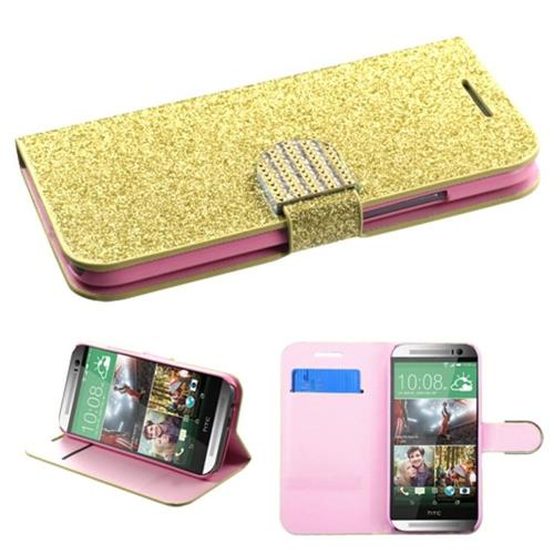 Insten Leather Glitter Case w/card slot For HTC One 2, Gold/Pink