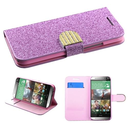 Insten Flip Leather Glitter Case w/stand/card holder For HTC One 2, Purple/Pink