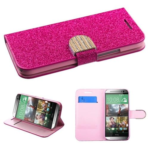 Insten Book-Style Leather Glitter Case w/stand/card holder For HTC One 2, Hot Pink/Pink