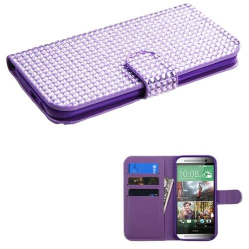 Insten Flip Leather Diamante Cover Case w/card slot For HTC One 2/M8, Purple