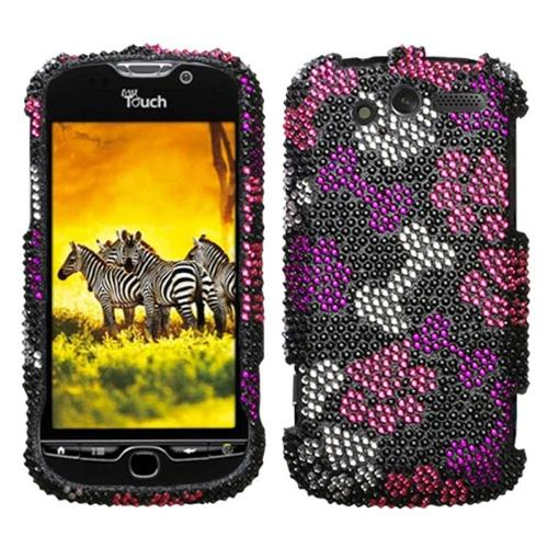 Insten Hard Diamond Cover Case For HTC MyTouch 4G, Black/Hot Pink