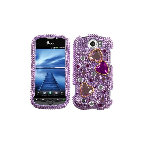 Insten Hard Diamante Case For HTC MyTouch 4G Slide, Purple/Hot Pink