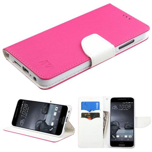 Insten Book-Style Leather Fabric Cover Case w/stand/card slot For HTC One A9, Hot Pink/White