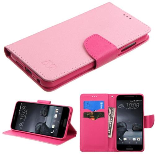 Insten Folio Leather Fabric Cover Case w/stand/card holder For HTC One A9, Pink