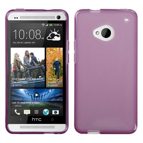 Insten Jelly Rubber Clear Case For HTC One M7, Purple