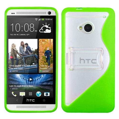 Insten S Shape Hard Transparent Plastic TPU Case w/stand For HTC One M7, Neon Green