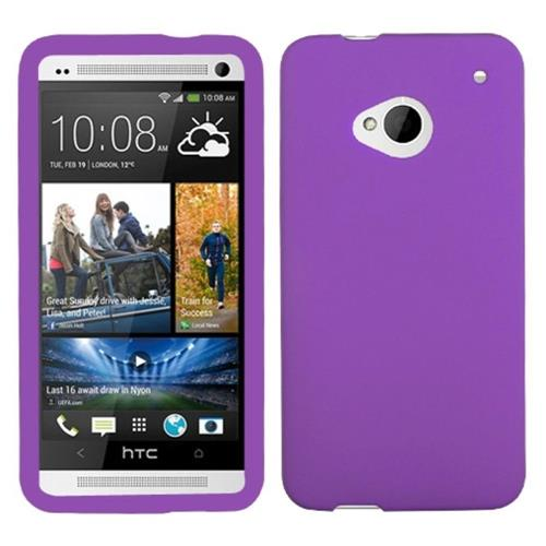 Insten Gel Rubber Cover Case For HTC One M7, Purple