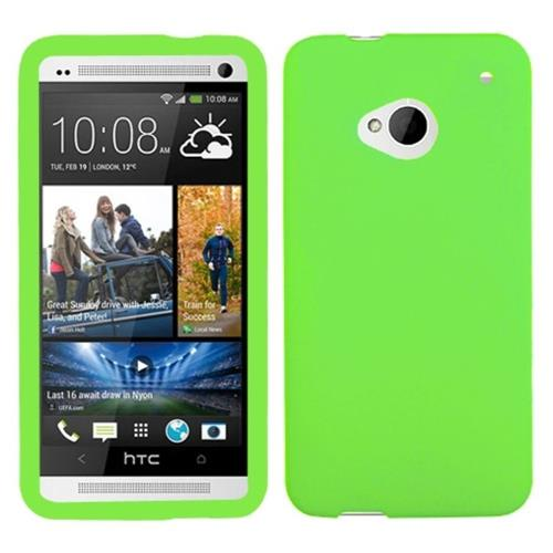 Insten Silicone Rubber Case For HTC One M7, Green