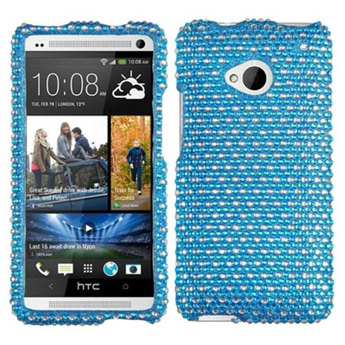 Insten Dots Hard Bling Case For HTC One M7, Blue/White