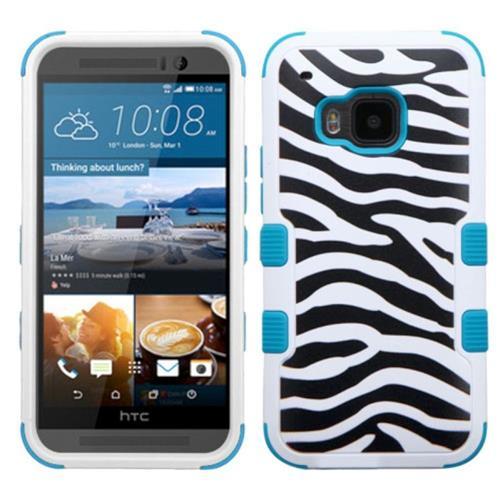 Insten Tuff Zebra Hard Dual Layer Rubberized Silicone Case For HTC One M9, Black/White