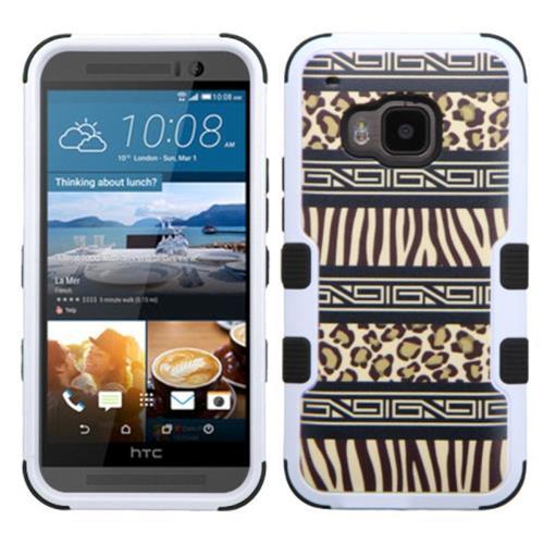 Insten Tuff Zebra Hard Hybrid Silicone Case For HTC One M9, Brown/Black
