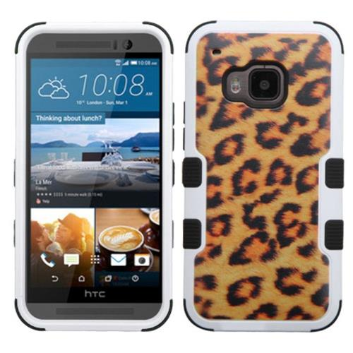 Insten Tuff Leopard Hard Dual Layer Silicone Case For HTC One M9, Brown/Black