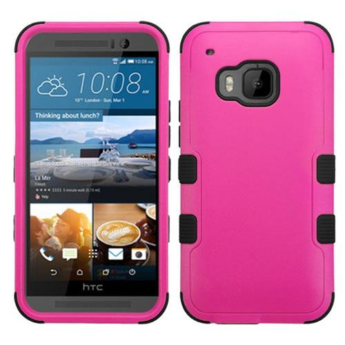Insten Hard Hybrid Rubber Coated Silicone Cover Case For HTC One M9, Hot Pink/Black
