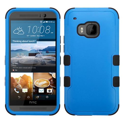 Insten Hard Dual Layer Silicone Cover Case For HTC One M9, Blue/Black