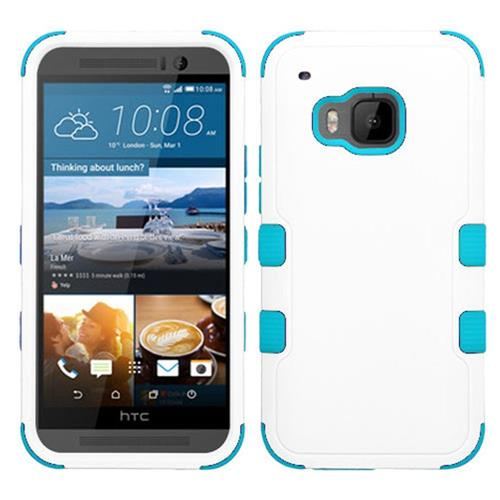 Insten Hard Dual Layer Silicone Case For HTC One M9, White/Blue