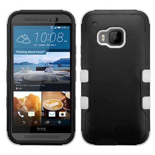 Insten Hard Hybrid Silicone Case For HTC One M9, Black/White
