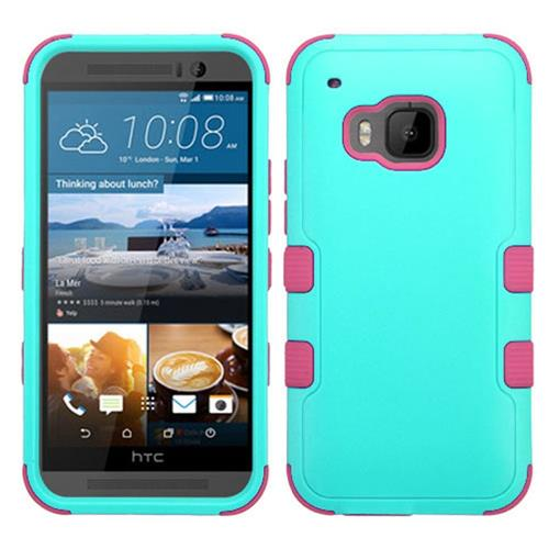 Insten Hard Hybrid Rubber Coated Silicone Cover Case For HTC One M9, Teal/Hot Pink