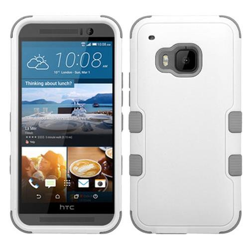Insten Hard Dual Layer Silicone Case For HTC One M9, White/Gray