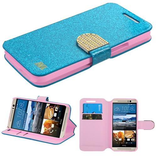 Insten Flip Leather Glitter Cover Case w/stand/card holder/Diamond For HTC One M9, Blue/Gold