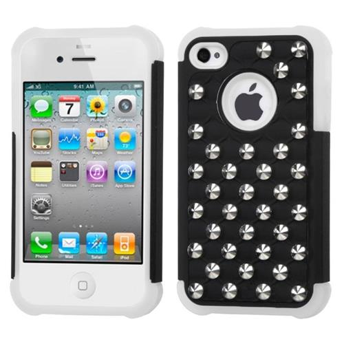 Insten Lattice Hard Dual Layer Rubber Coated Silicone Case w/Wallet For iPhone 4/4S, Black/White